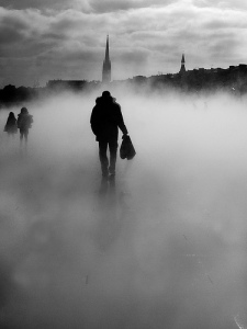 Walking in a smoke screen